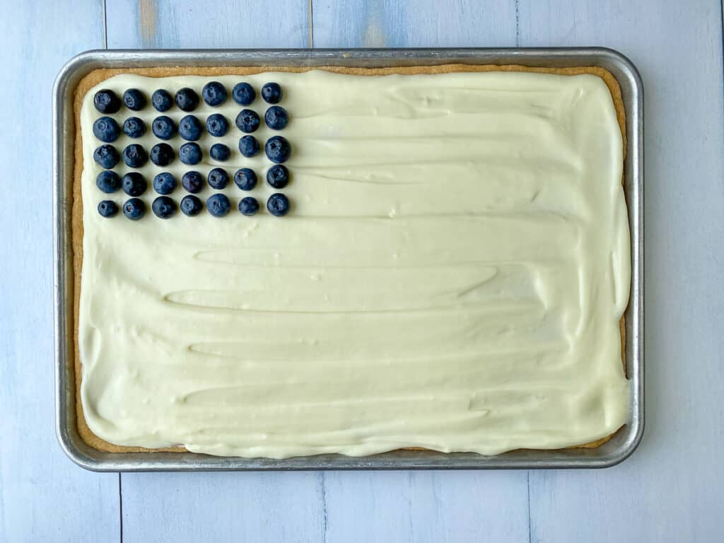 Blueberries to represent stars on a flag pizza