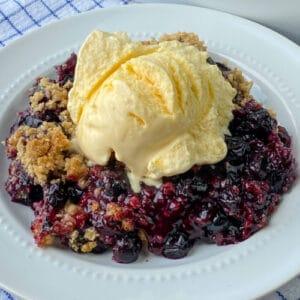 Plate of the best blueberry crisp