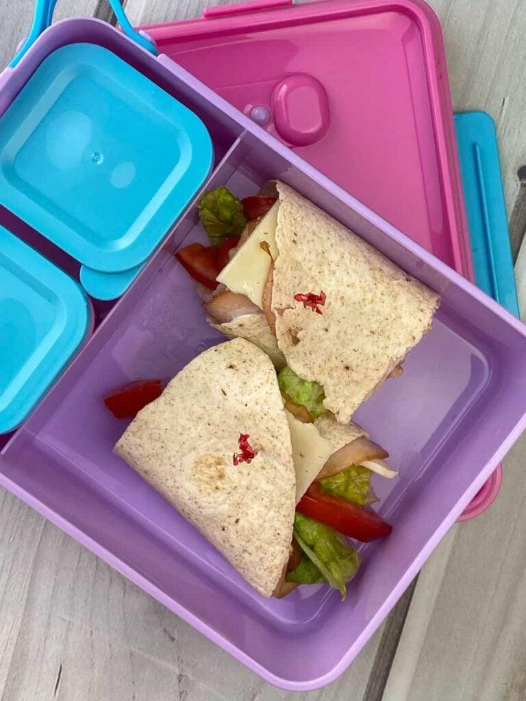 Easy turkey wraps in a kids lunch box