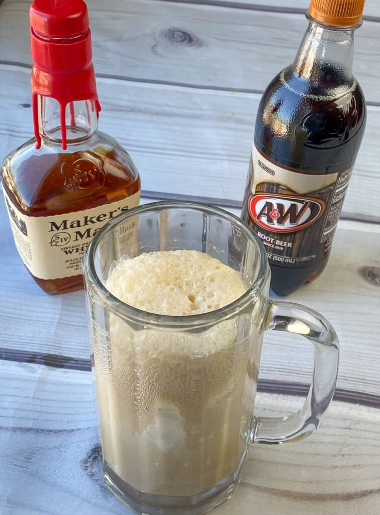 A&W root beer and Makers Mark whiskey to make alcoholic root beer float