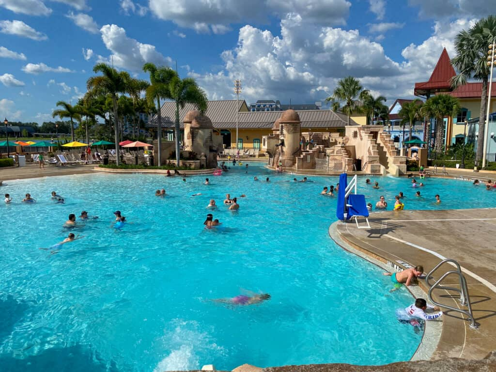 Busy pool with Caribbean and pirate theme at Disney World hotel