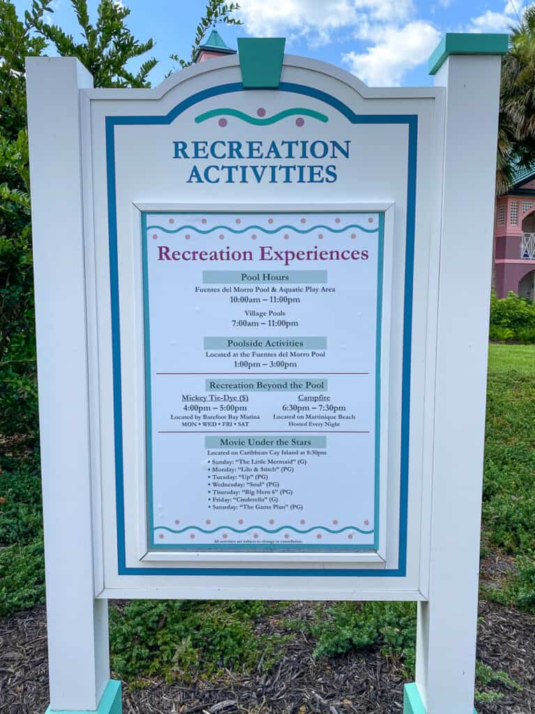 List of recreation activities at Caribbean Beach resort
