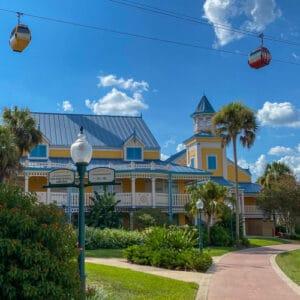 Bright buildings under sky liner at Disney's Caribbean Beach Resort