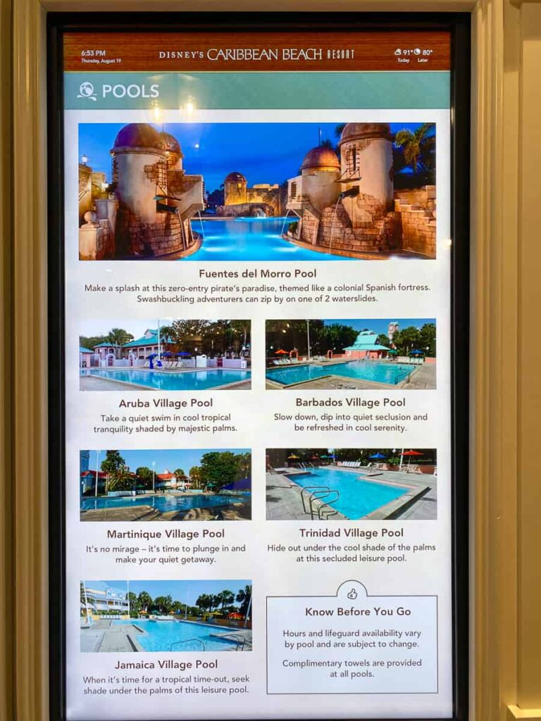 Overview and list of the six pools at Caribbean Beach Disney hotel