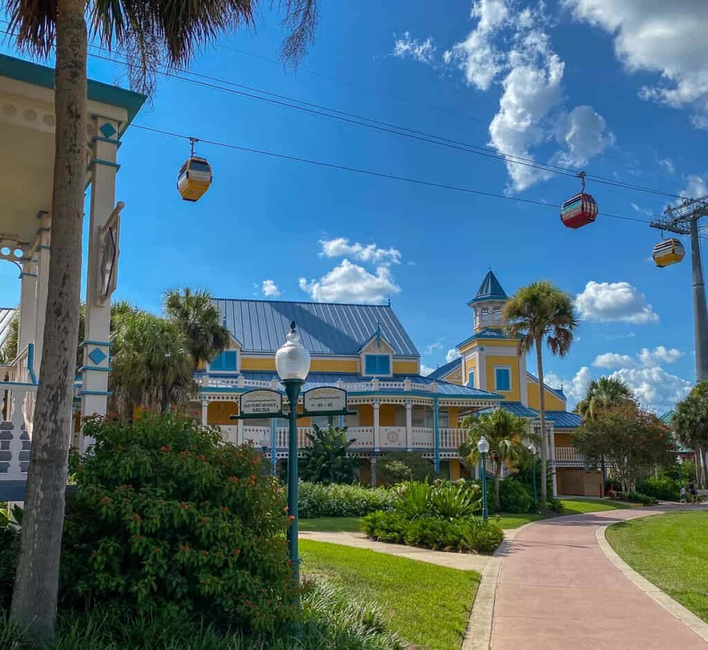 Sky liner over Caribbean Beach resort at Disney World