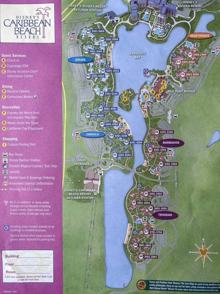 Map of Disney's Caribbean Beach Resort