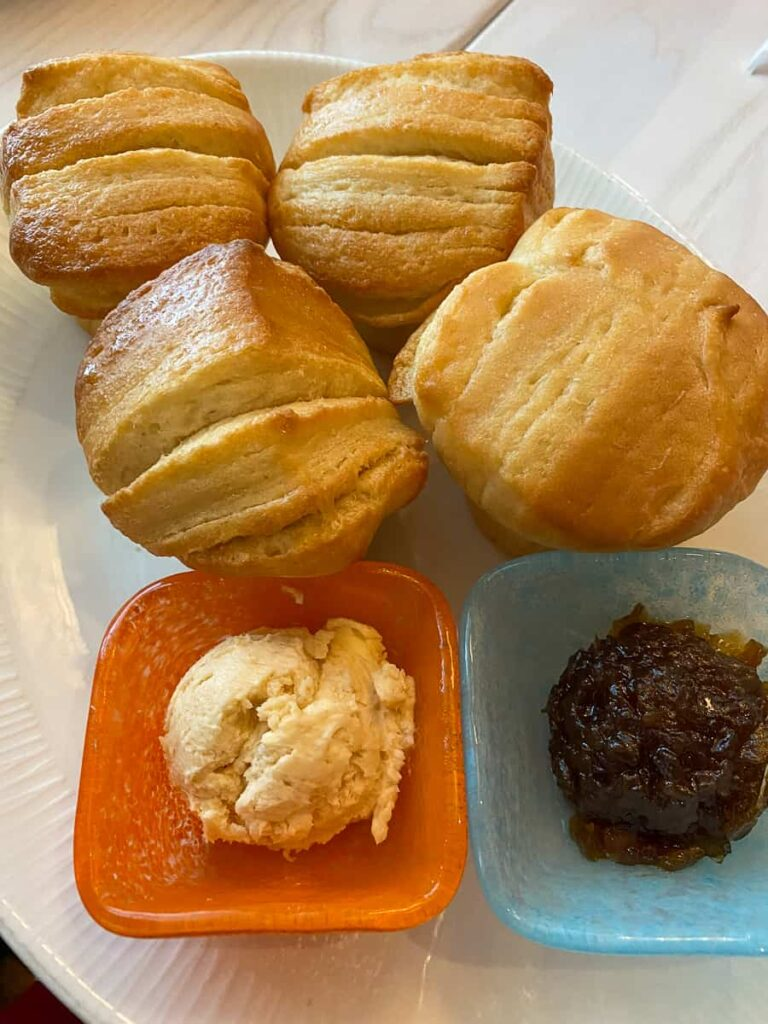 Pull apart rolls with guava butter and onion jam from Sebastians Bistro