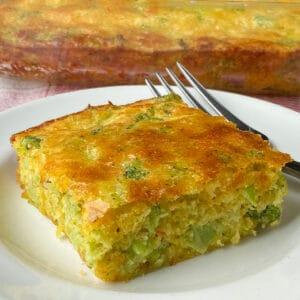 Close up piece of the best broccoli cornbread