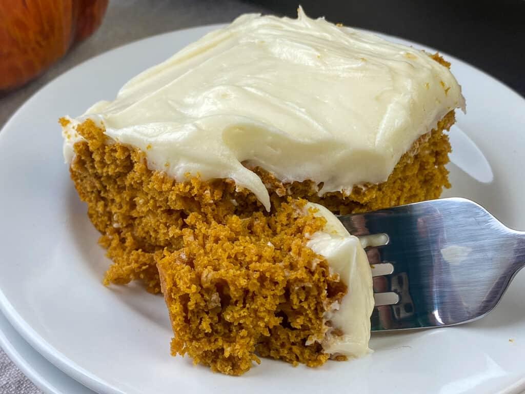 fork full of pumpkin carrot cake made from cake mix
