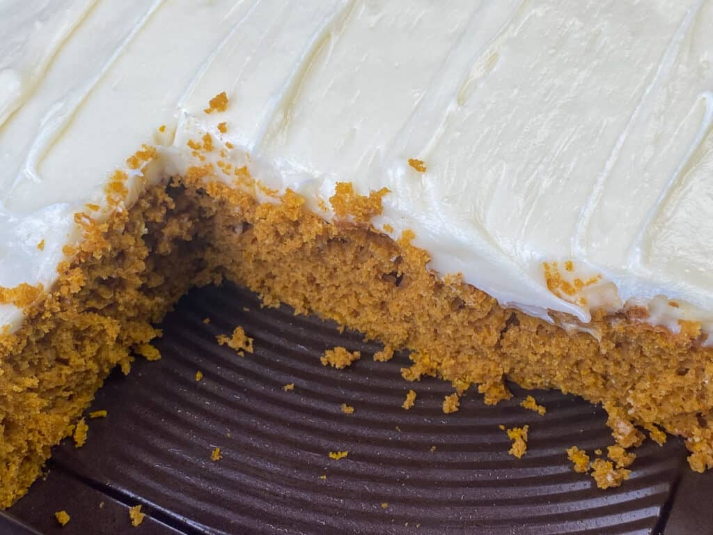 Moist 3 ingredient pumpkin spice cake with frosting