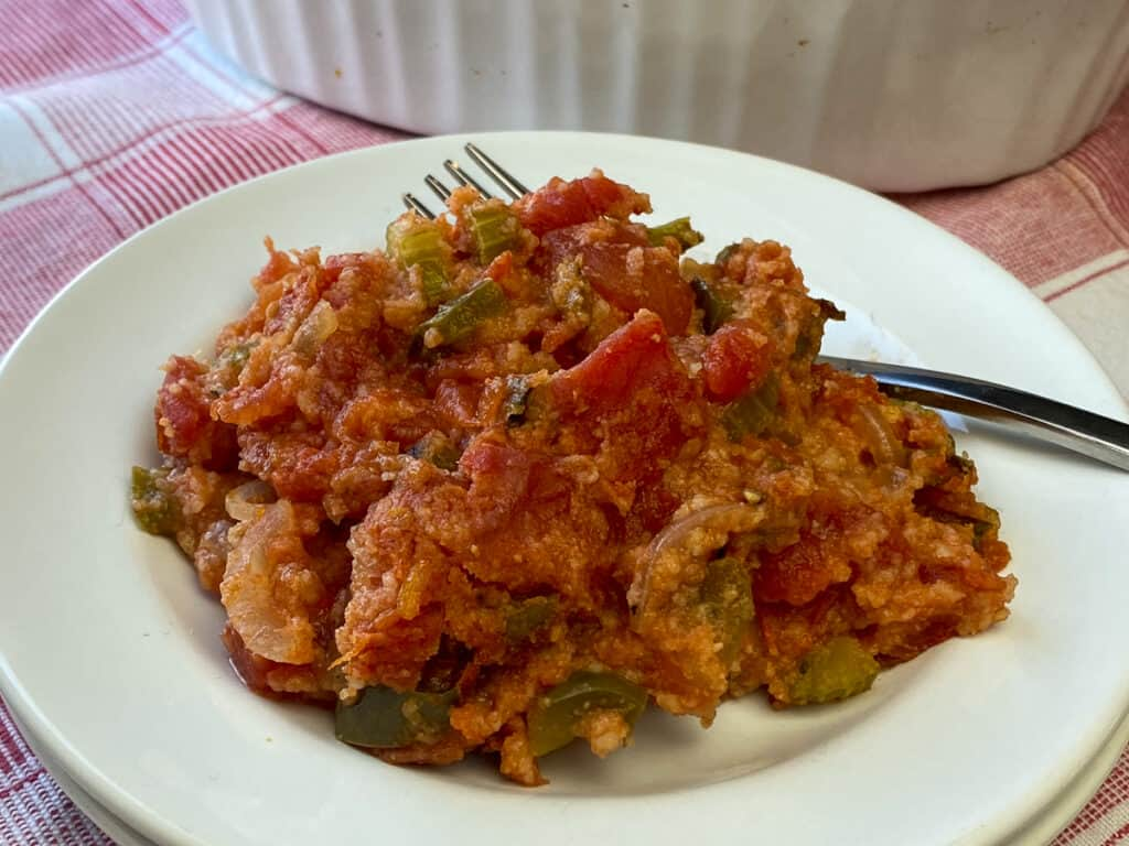 Close up plate of scalloped tomatoes casserole