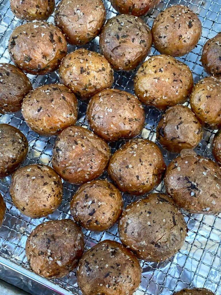 Whole baby potatoes generously seasoned with salt and pepper