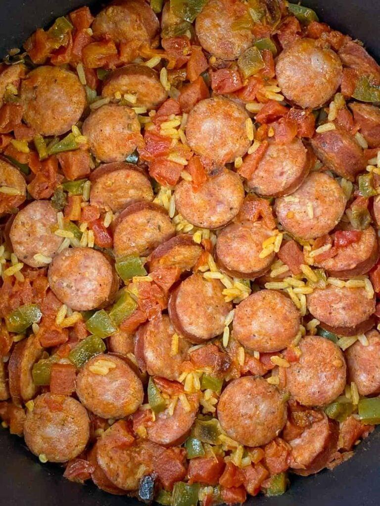 Colorful pot of 30 minute sausage jambalaya