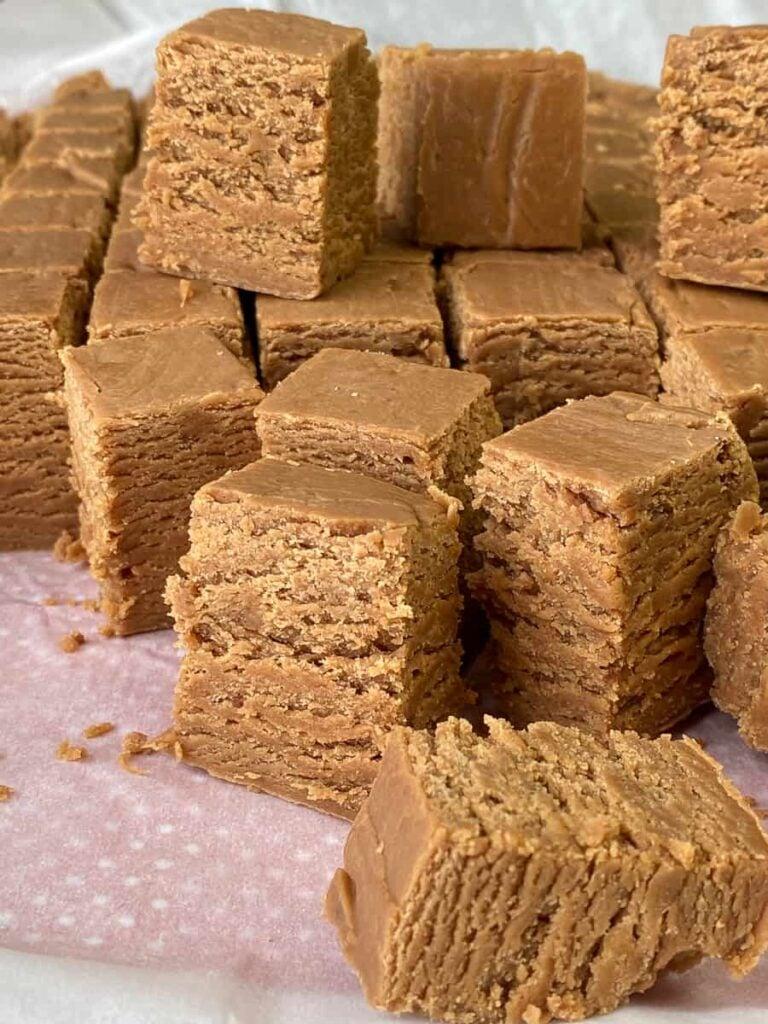 Stack of peanut butter fudge squares