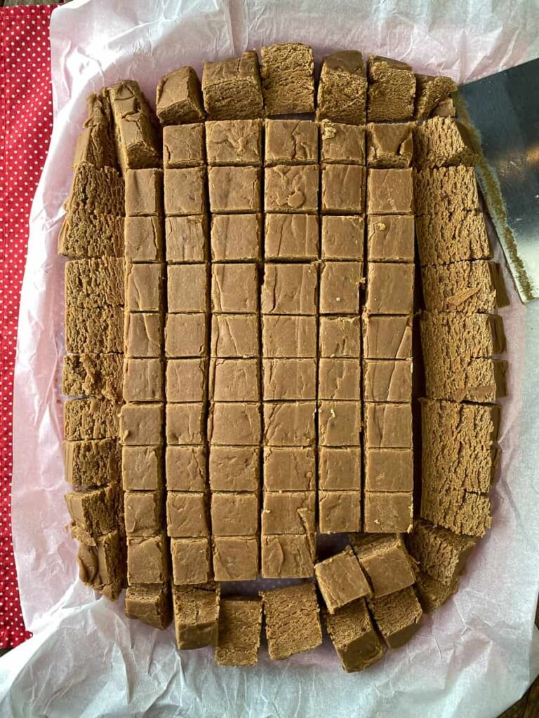 9 x 13 pan of peanut butter fudge sliced into 96 pieces