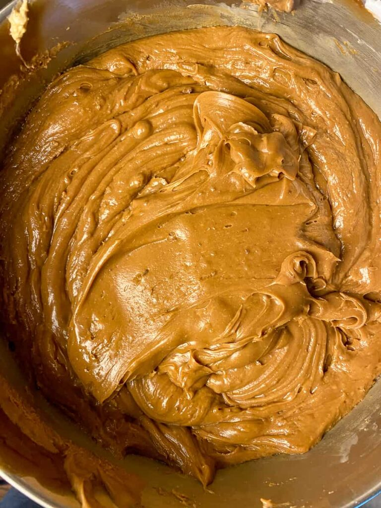 Chocolate peanut butter fudge that looks like frosting