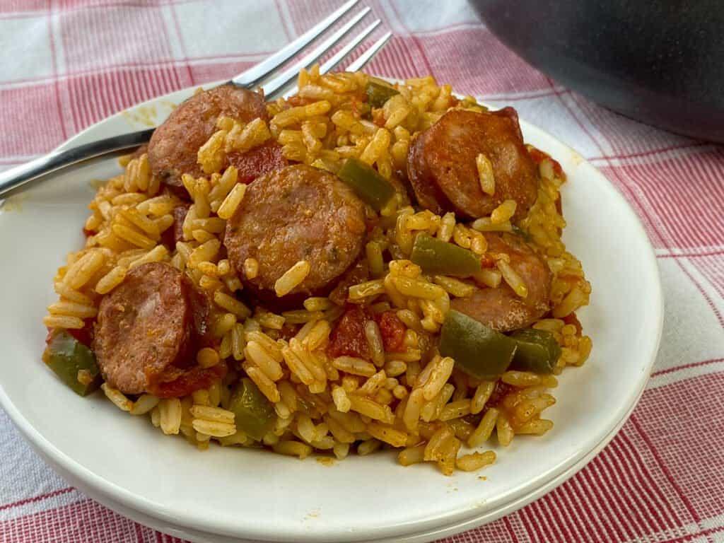 Fork on a plate of easy sausage jambalaya